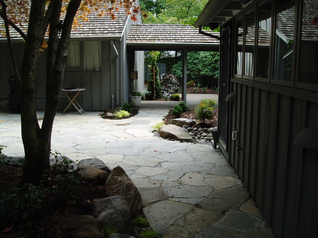 Patio is mortared flagstone Japanese style asian-patio