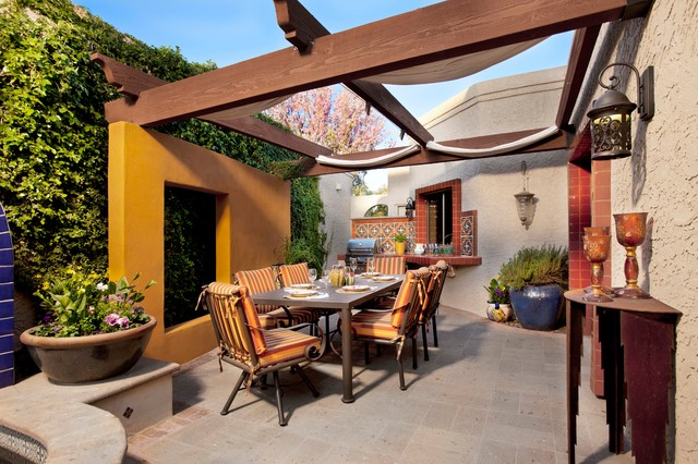 Mediterranean Patio Idea In Phoenix With A Pergola