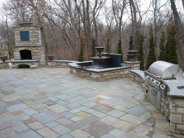 Patio Outdoor Grill Amp Fireplace Stairs Fountain