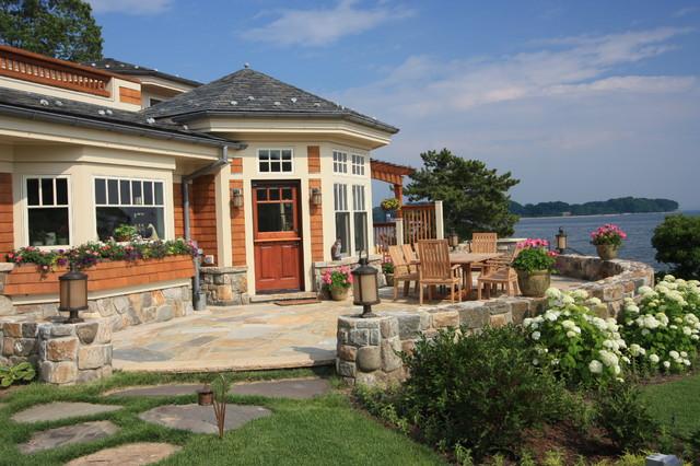 Patio overlooking Long Island Sound traditional-patio