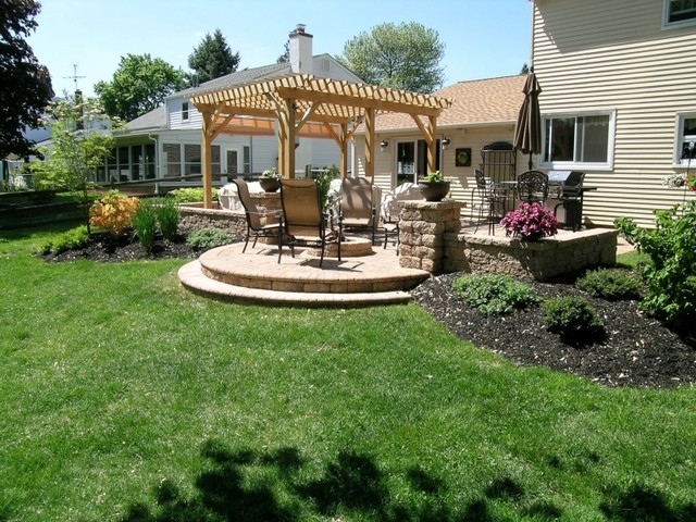 Patio Pergola Fire Pit Sitting Walls Patio Landscaping Outdoor Lighting - Traditional ...