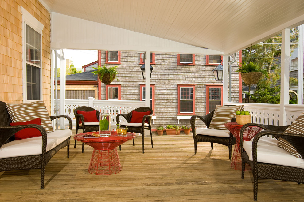 Patio - traditional backyard patio idea in Boston with decking and a roof extension