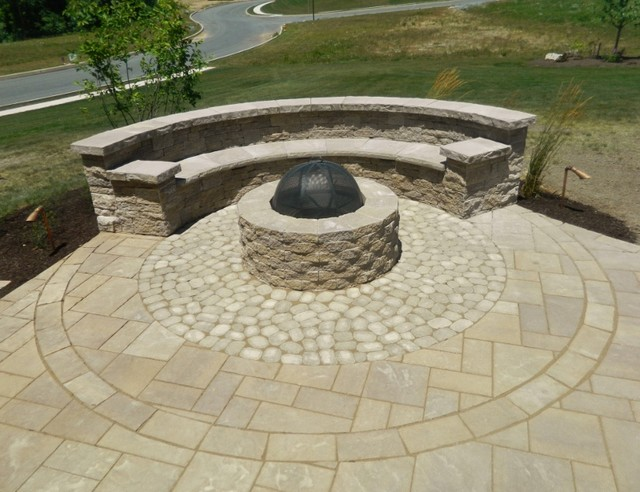Patio Space With Firepit Seating Wall Steps Landscaping
