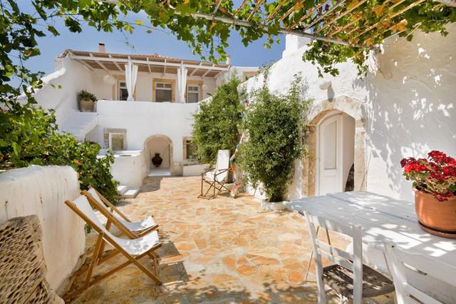 Greek Backyard Designs outdoor lobby contemporary greek design Patio Summer House Island Of Kythira Greece Mediterranean Patio