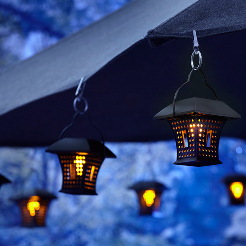 Patio Umbrella With Hanging Solar Lights Rustic Patio