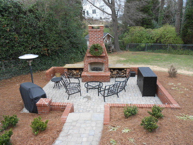 Patio with brick fireplace traditional patio other metro by