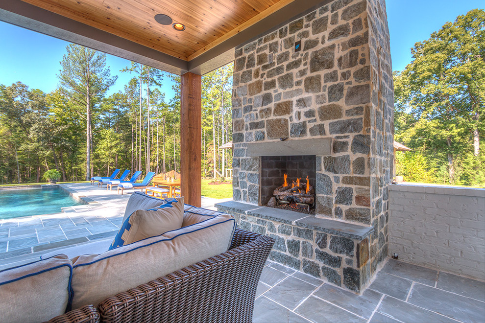 Patio With Fireplace Farmhouse
