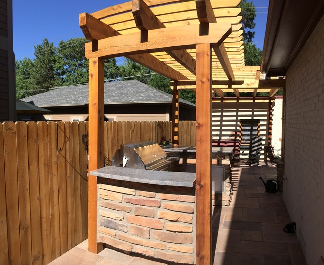 Patio With Pergola And Outdoor Grill Bar Craftsman Kitchen