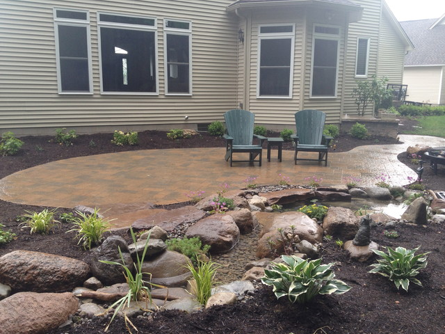 Patios, Steps, Lighting, Ecosystem Koi Pond, Plantings in Rochester NY traditional-patio