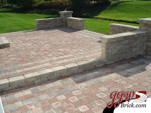 Paver patio designs traditional patio detroit by jjw - Paver designs for backyard ...
