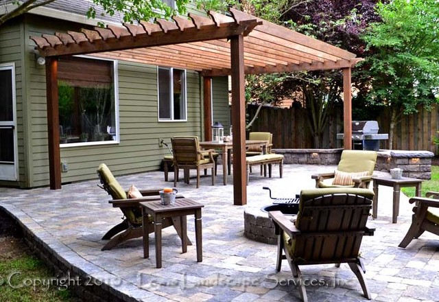 paver patio with pergola. Paver Patio, Pergola, Fire Pit, Seat Wall, Lighting Contemporary-patio Patio With Pergola