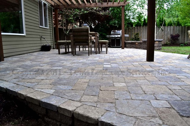 Paver Patio, Pergola, Fire Pit, Seat Wall, Lighting Contemporary Patio