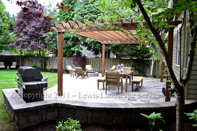 Paver Patio Pergola Fire Pit Seat Wall Lighting Contemporary Patio Portland By Lewis