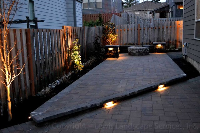 Paver Patio, Seat Wall, Fire Pit, Outdoor Lighting, Landscaping Modern Patio