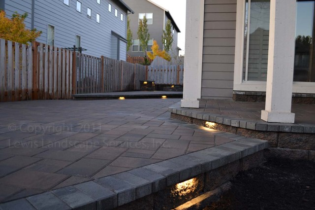 Paver Patio, Seat Wall, Fire Pit, Outdoor Lighting, Landscaping modern-patio