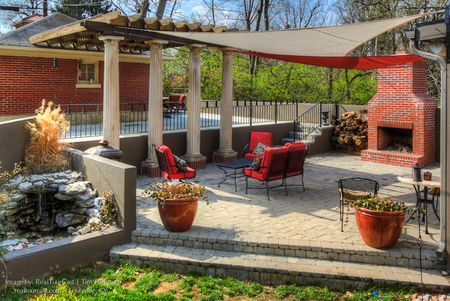 Paver Patio With Fire Pit Fountain Pergola And Custom