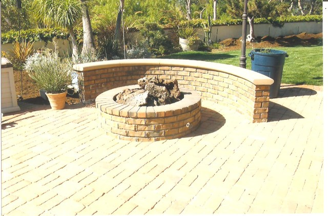 Paver Patio with Fire Pit traditional patio
