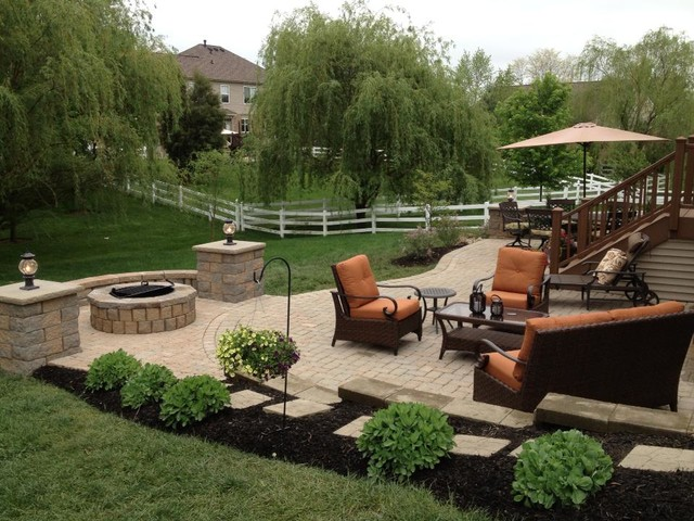 Paver Patio With Pit Seating Wall And Grill Trex Steps. Traditional Patio