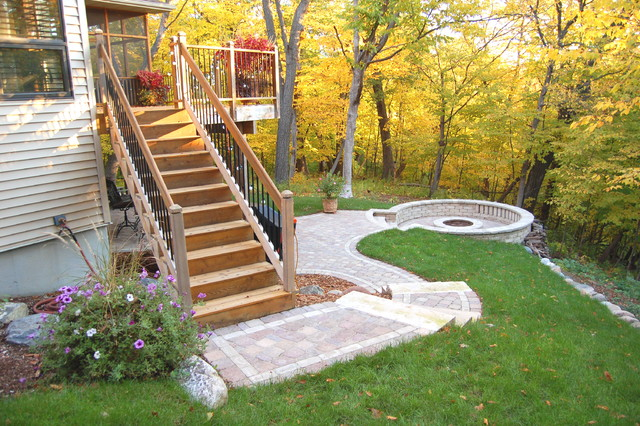 Pavers amp sunken fire pit traditional patio minneapolis by daryl melquist bachmans