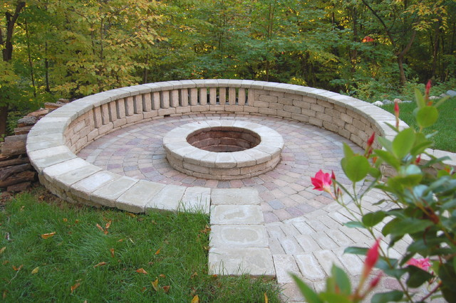 Pavers Sunken Fire Pit Traditional Patio