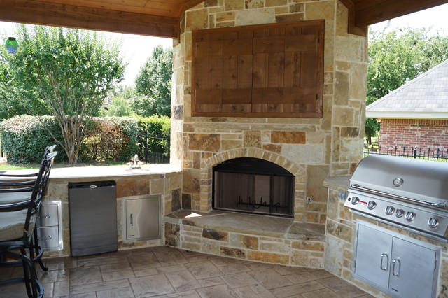 Pavilion cabana traditional patio dallas by dfw - Outdoor fireplace with tv ...