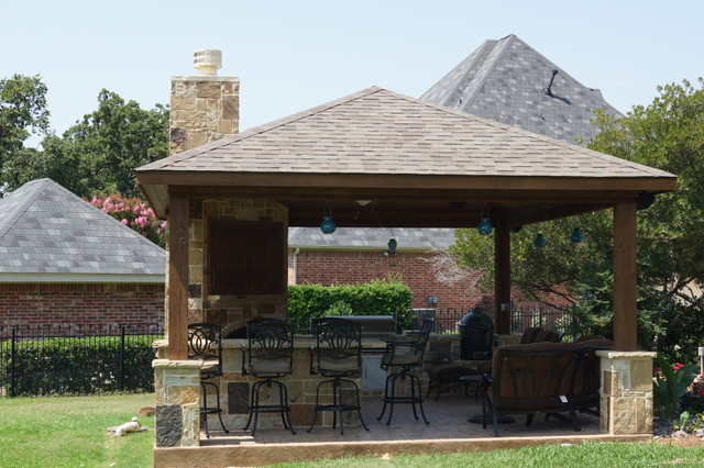 Outdoor Cabana pavilion, cabana - traditional - patio - dallas -dfw creative
