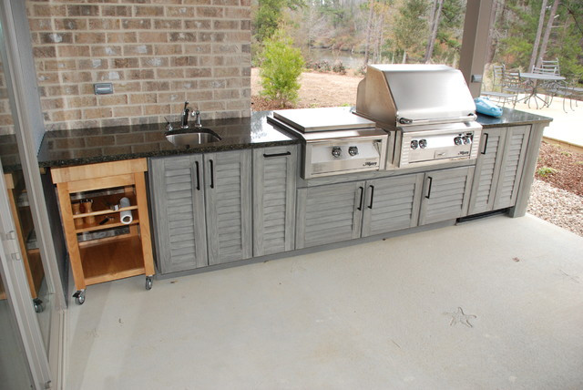 inspiration for a mid sized timeless backyard concrete paver patio kitchen remodel in new orleans - Patio Kitchen