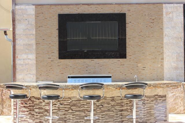 Pelican Sand Mosaic Tile Outdoor Bar Contemporary