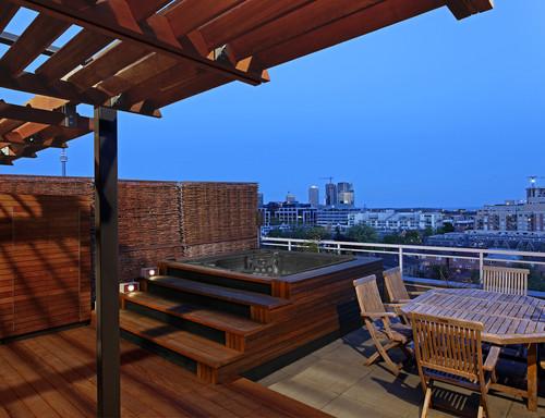 hot tub interior design outdoor living loft rooftop garden design modern contemporary wood decking