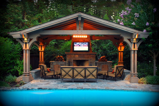 Pergola pavilion alamo ca traditional pool san for Pool design with gazebo