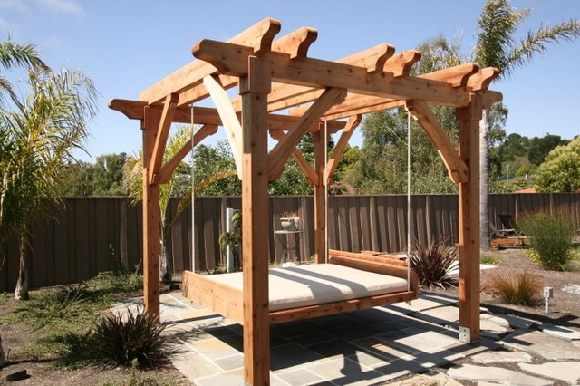 pergola and swing bed. Black Bedroom Furniture Sets. Home Design Ideas