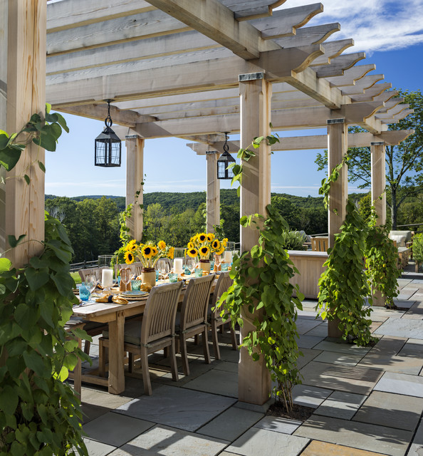 Pergola traditional patio new york by haver for Pergola images houzz