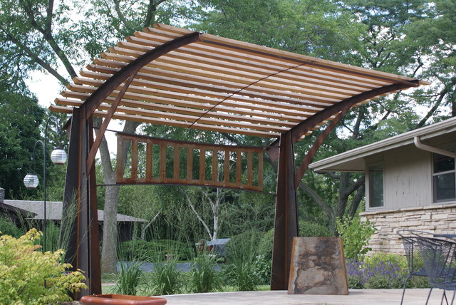Pergola contemporary patio milwaukee by new house arts for Steel shade structure design