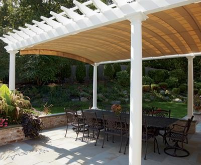 Pergola pair detail view 3 canopy extended mediterranean patio other metro by walpole - Shade canopy for deck ...