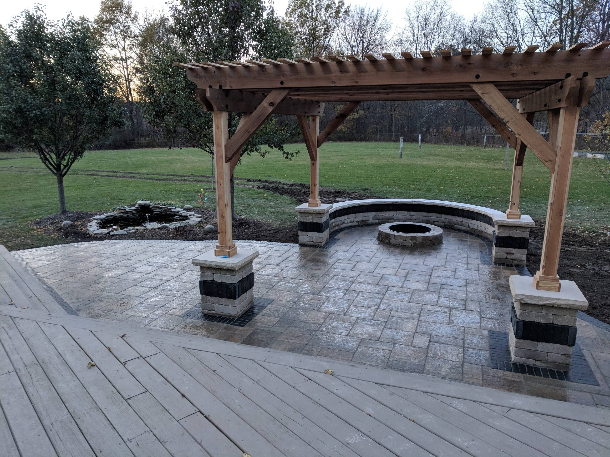 Pergola, Patio, and Fire Pit