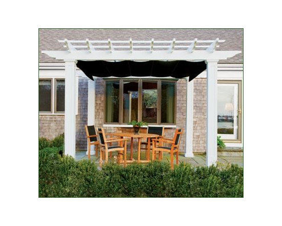 Pergola, Straight Top, Square Columns - Sizes are measured on-center of the posts and have a 1 1/2' overhang. Square fiberglass columns with recessed panels, capitals and decorative base. Crafted in low maintenance cellular PVC. Factory primed and painted. Shades offered with manual rope drive in Black, Heather Beige, Forest Green, Burgundy and Taupe. Crated and shipped motor freight. Arrives ready to install. ShadesFX Canopy sold separately.