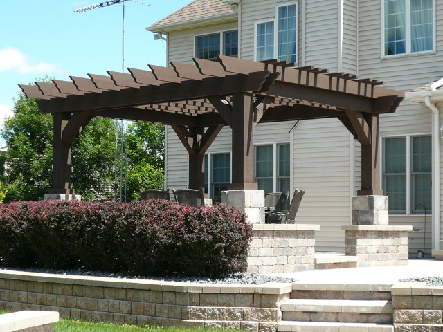 Pergolas and Pavers traditional-patio