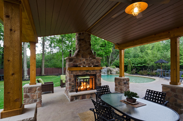 Pergolas and pavilons traditional patio cleveland for Back to back indoor outdoor fireplace