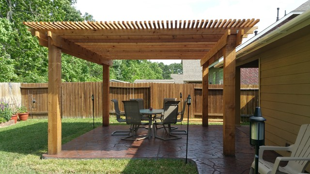 Captivating Example Of A Small Mountain Style Backyard Stamped Concrete Patio Design In  Houston With A Pergola