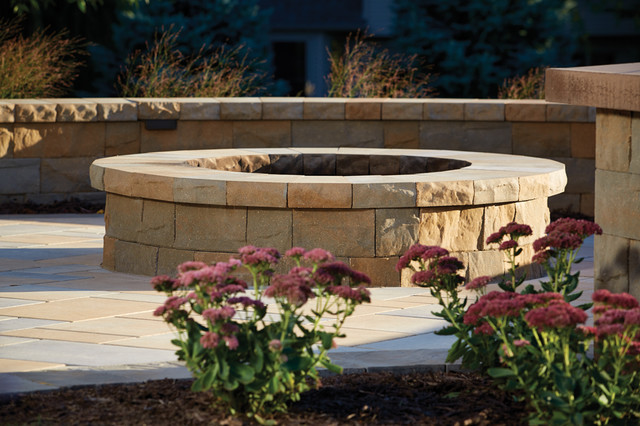 Picturesque Patio: Fire Pit Created From Concrete Retaining Wall Blocks  Transitional Patio