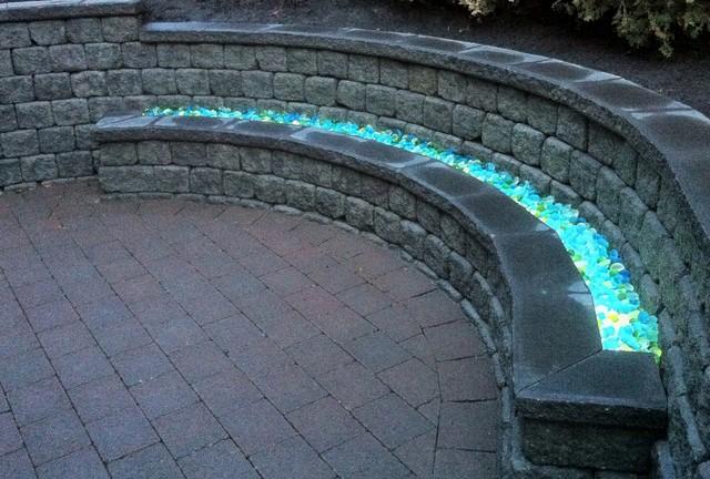 Pisa Stone Bench With Illuminated Glass Patio