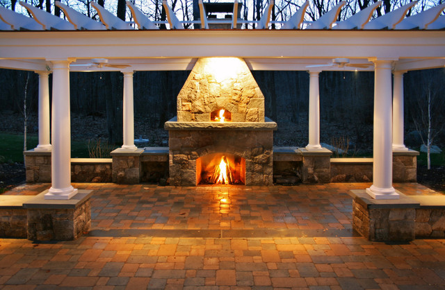 pizza oven fireplace trellis patio traditional