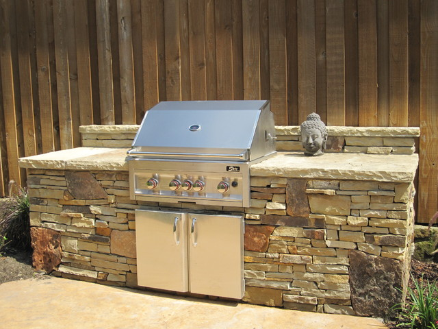 Plano tx dry stack stone traditional patio dallas for Dallas outdoor kitchens