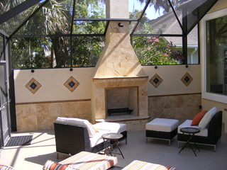 Ponte Vedra Fireplace Mediterranean Patio Jacksonville By Outdoor Kitchens By Design Inc