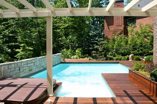 Pool And Wood Deck Modern Patio Montreal By Topia