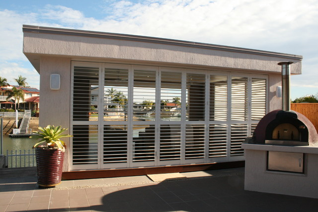 Ordinaire Pool House With Aluminum Shutters Contemporary Patio