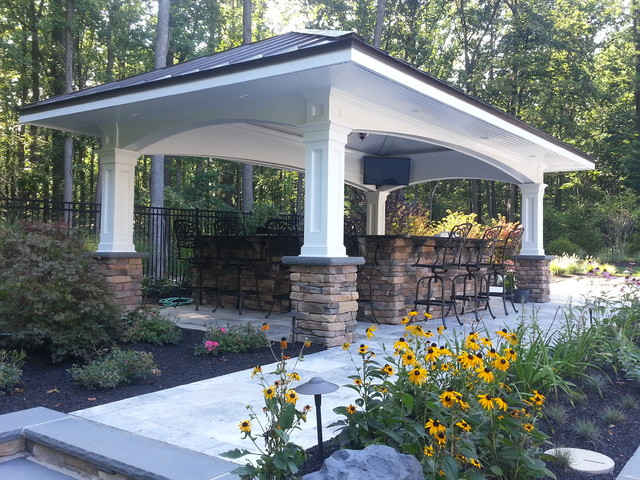 Pool House With Outdoor Kitchen Traditional Patio
