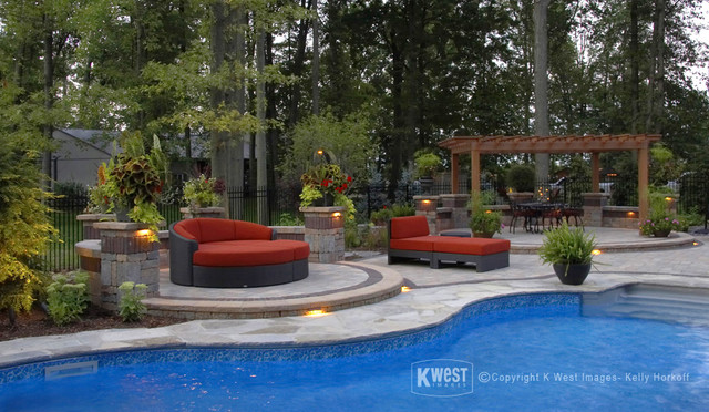 Pool Patio & Night Lighting modern-patio