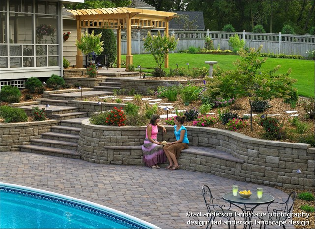 Pool Patio Renovation - Terraced Walls & Built-In Seating. Minnesota ...