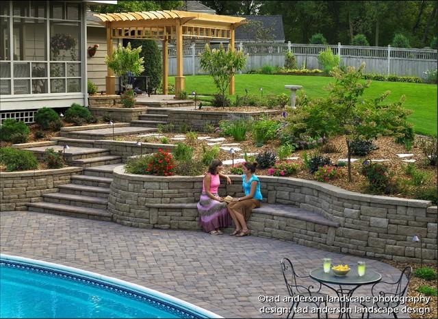 Terraced Backyard Pool : Pool Patio Renovation  Terraced Walls & BuiltIn Seating Minnesota